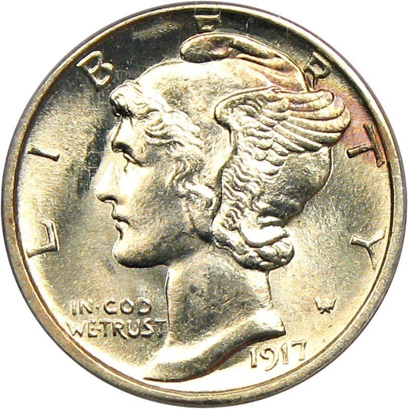 1917 S 10c Mercury Silver Dime US Coin Genuine