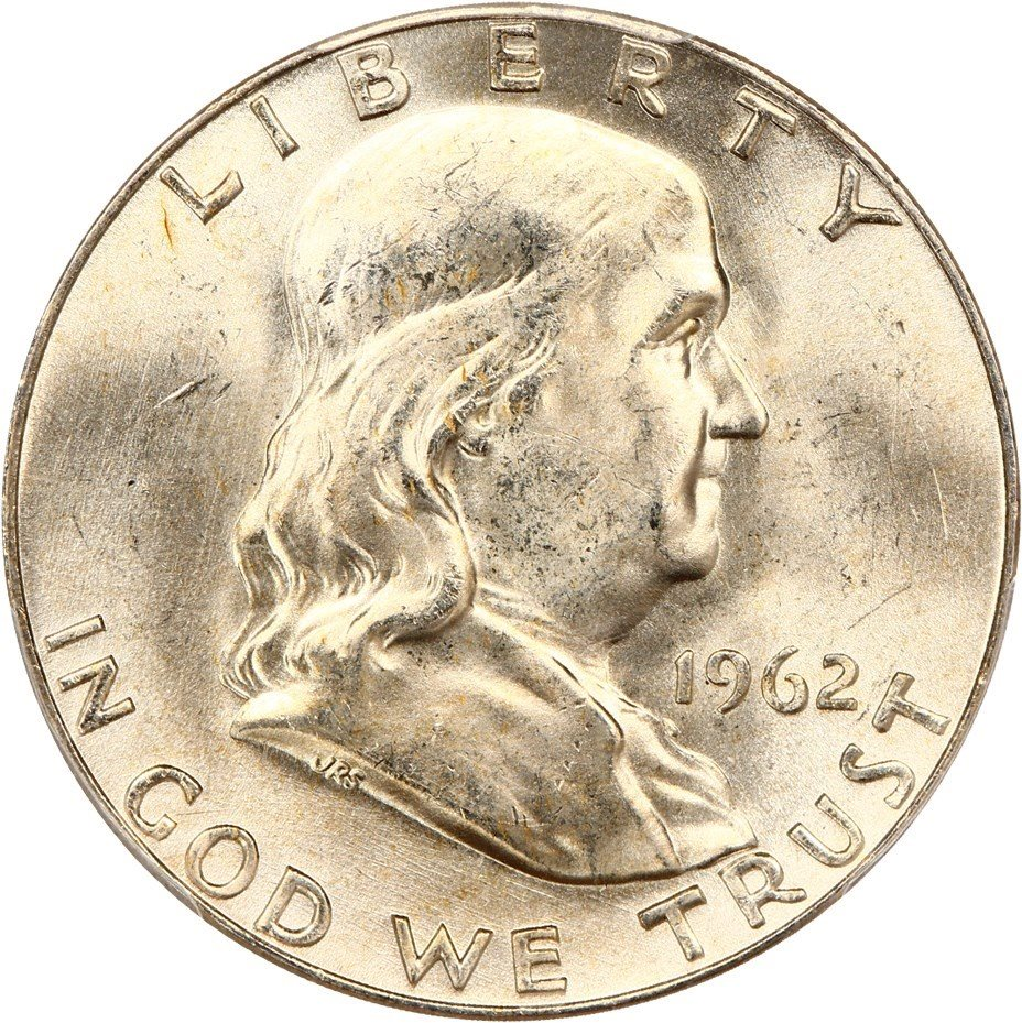 100/% White 1962-D PCGS MS64 FBL Franklin Half Dollar